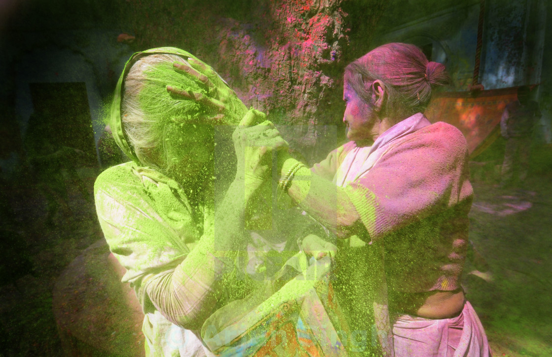 """Indian widows celebrate Holi in Vrindavan - Uttar Pardesh"" stock image"