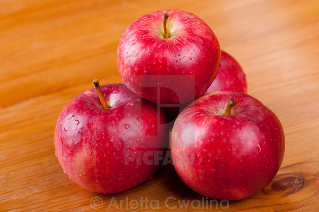 """ripe red apples dewed in pile"" stock image"