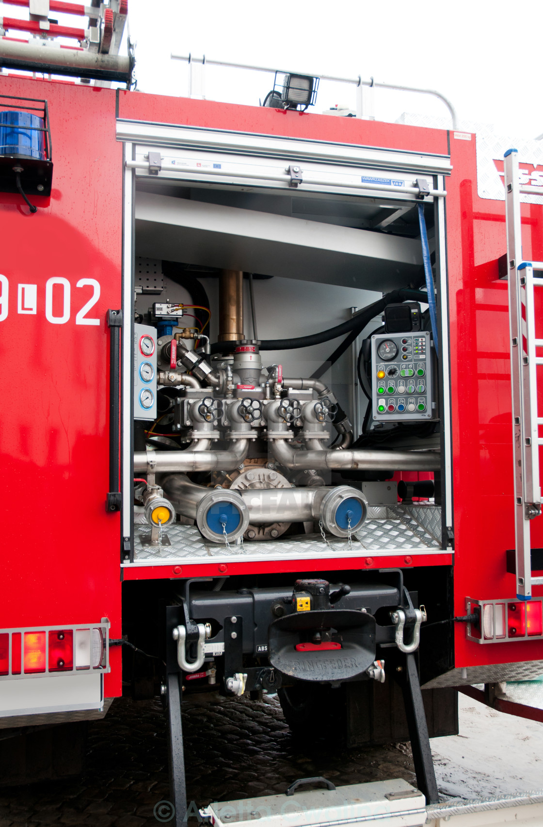 """Opened fire truck device interior"" stock image"