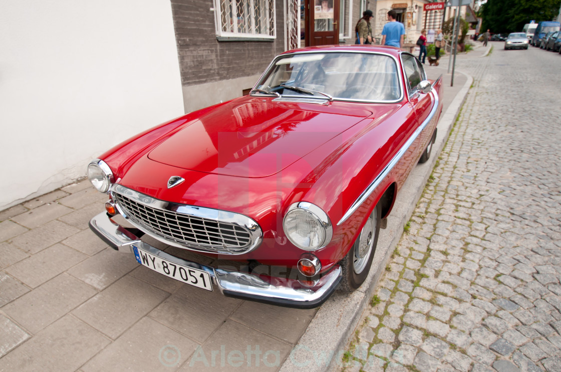 """Old Red Volvo vintage classic car"" stock image"