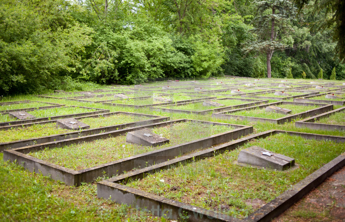 """Graves in a row on Russian War Cemetery"" stock image"