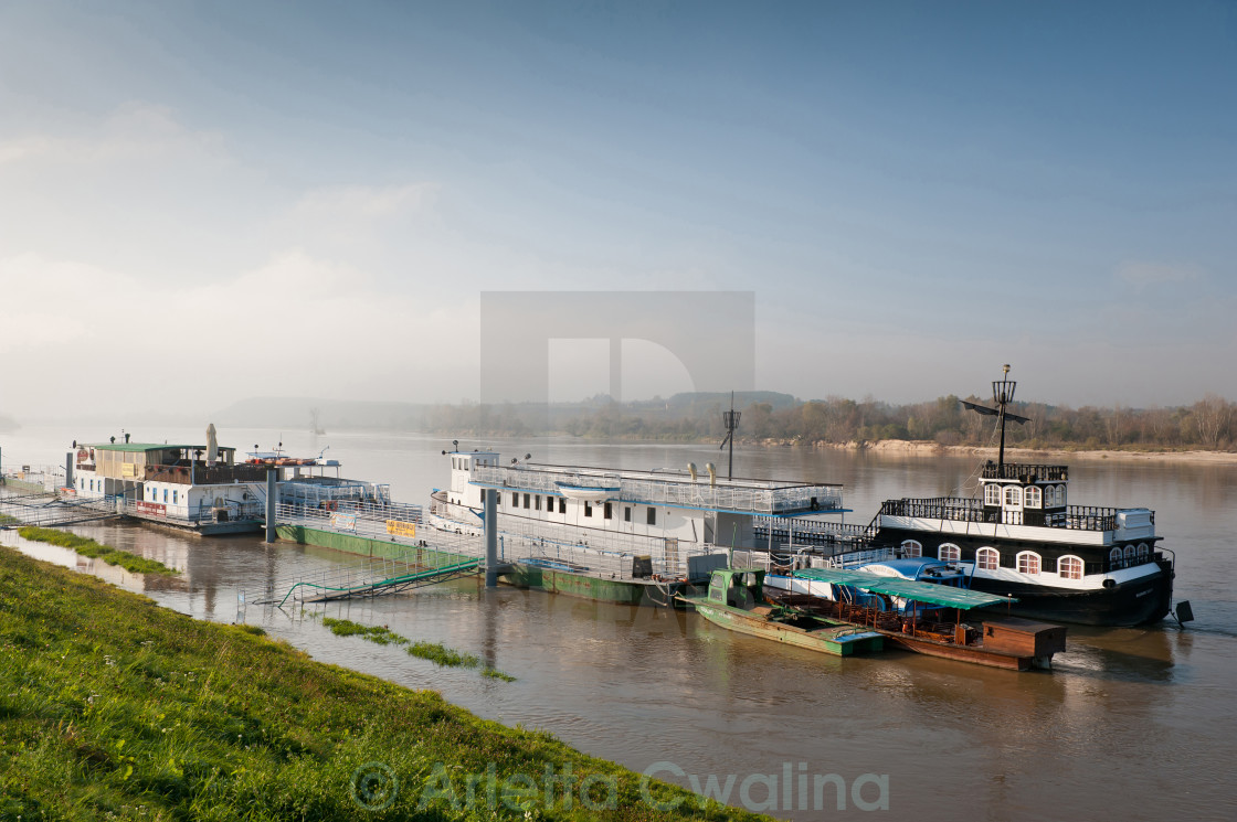 """Tourist ships at Vistula River"" stock image"