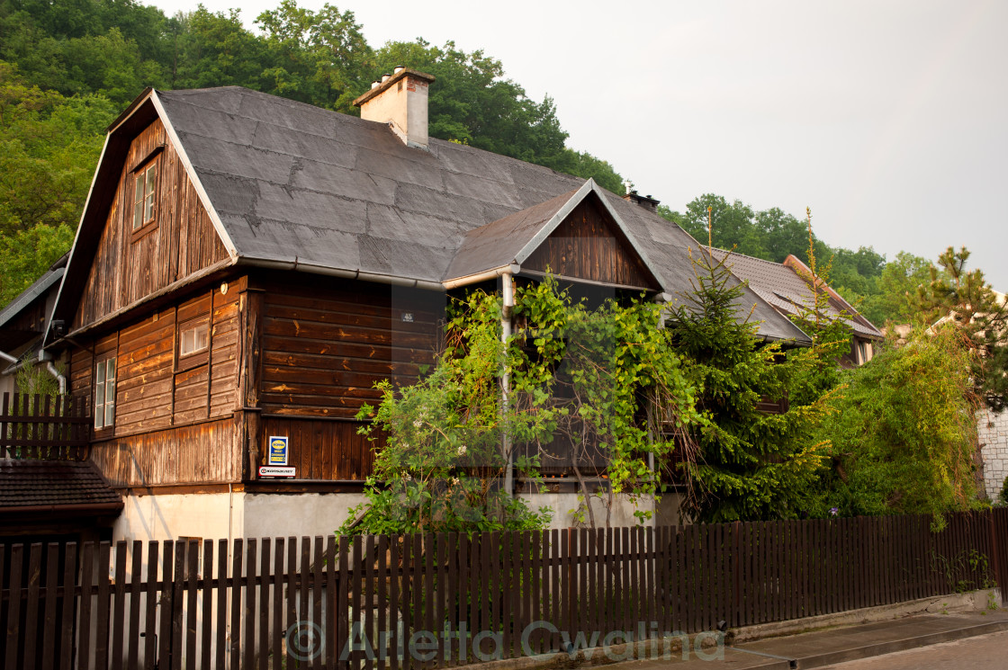 """Old wooden house with tar"" stock image"