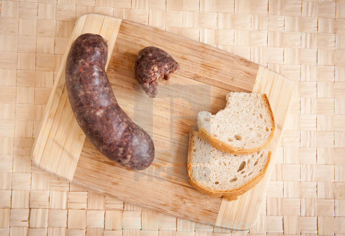 """""""Blood sausage portion with bread"""" stock image"""
