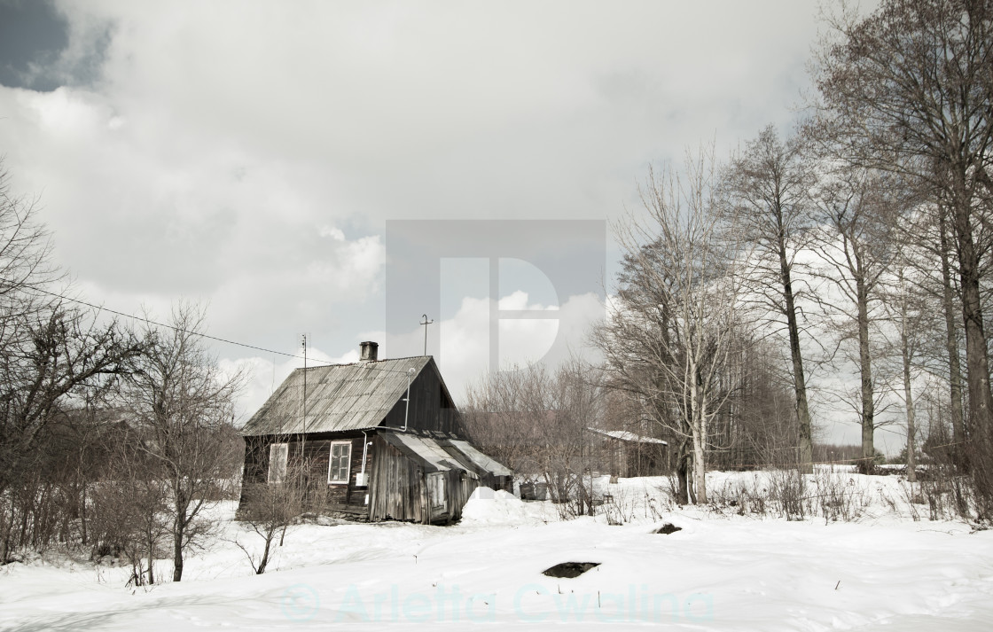 """Abandoned dilapidated wooden house"" stock image"