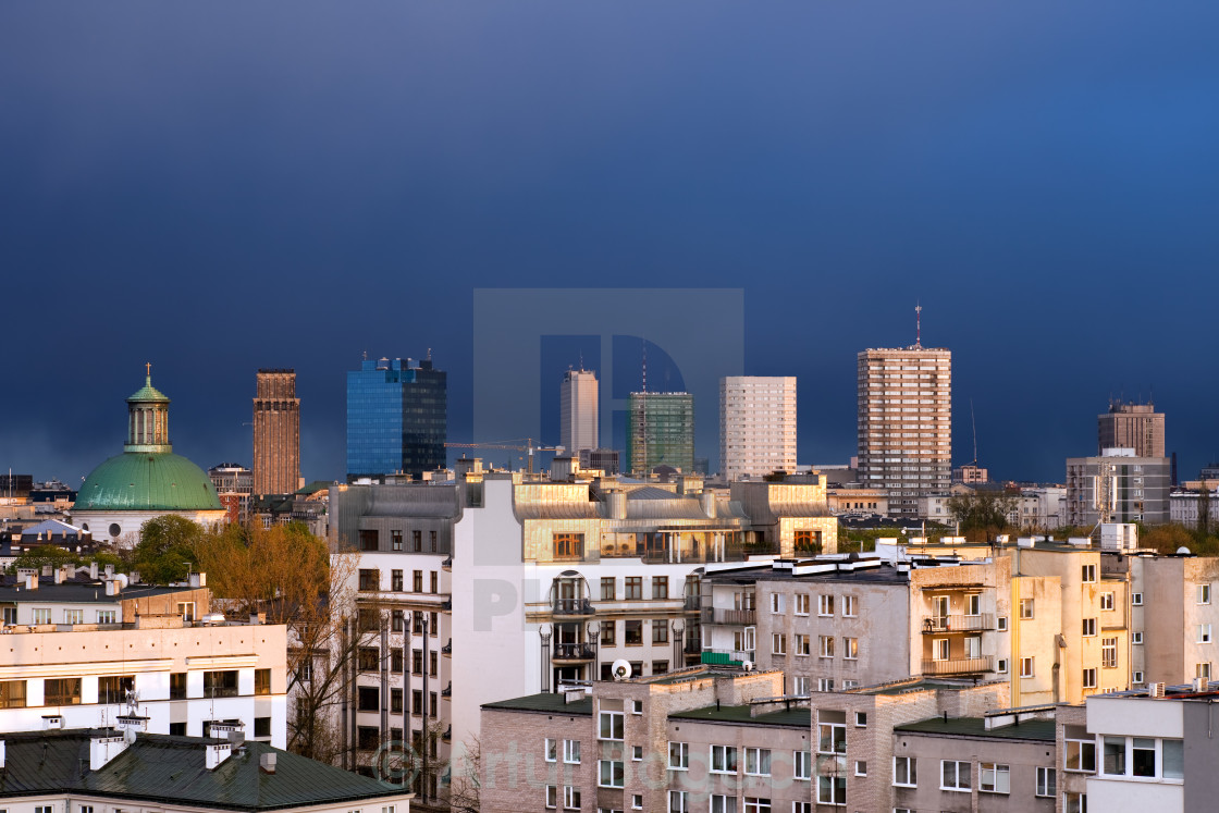 """""""Cityscape of Warsaw in Poland"""" stock image"""
