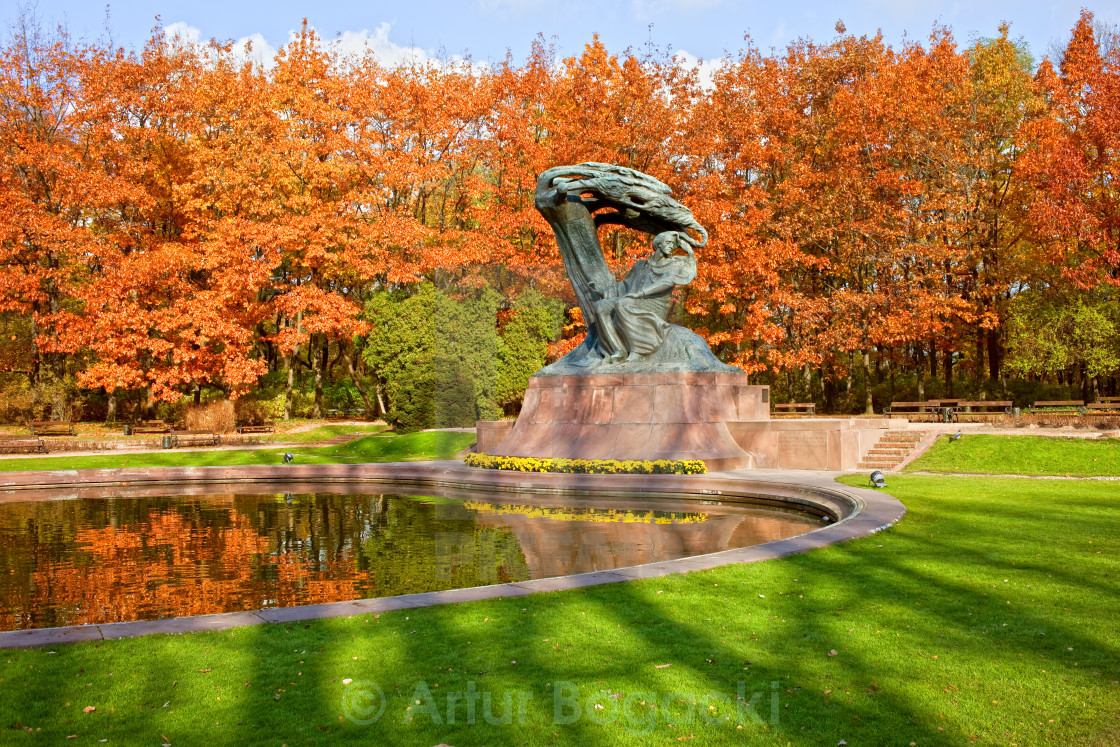 """Chopin Monument in the Lazienki Park"" stock image"