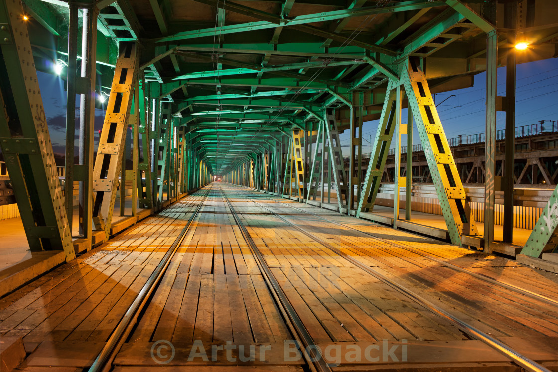 """Steel Truss Bridge Tramway at Night"" stock image"