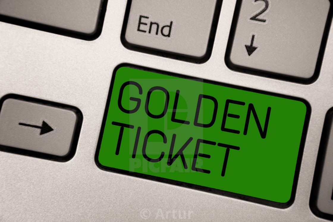 Writing note showing Golden Ticket  Business photo