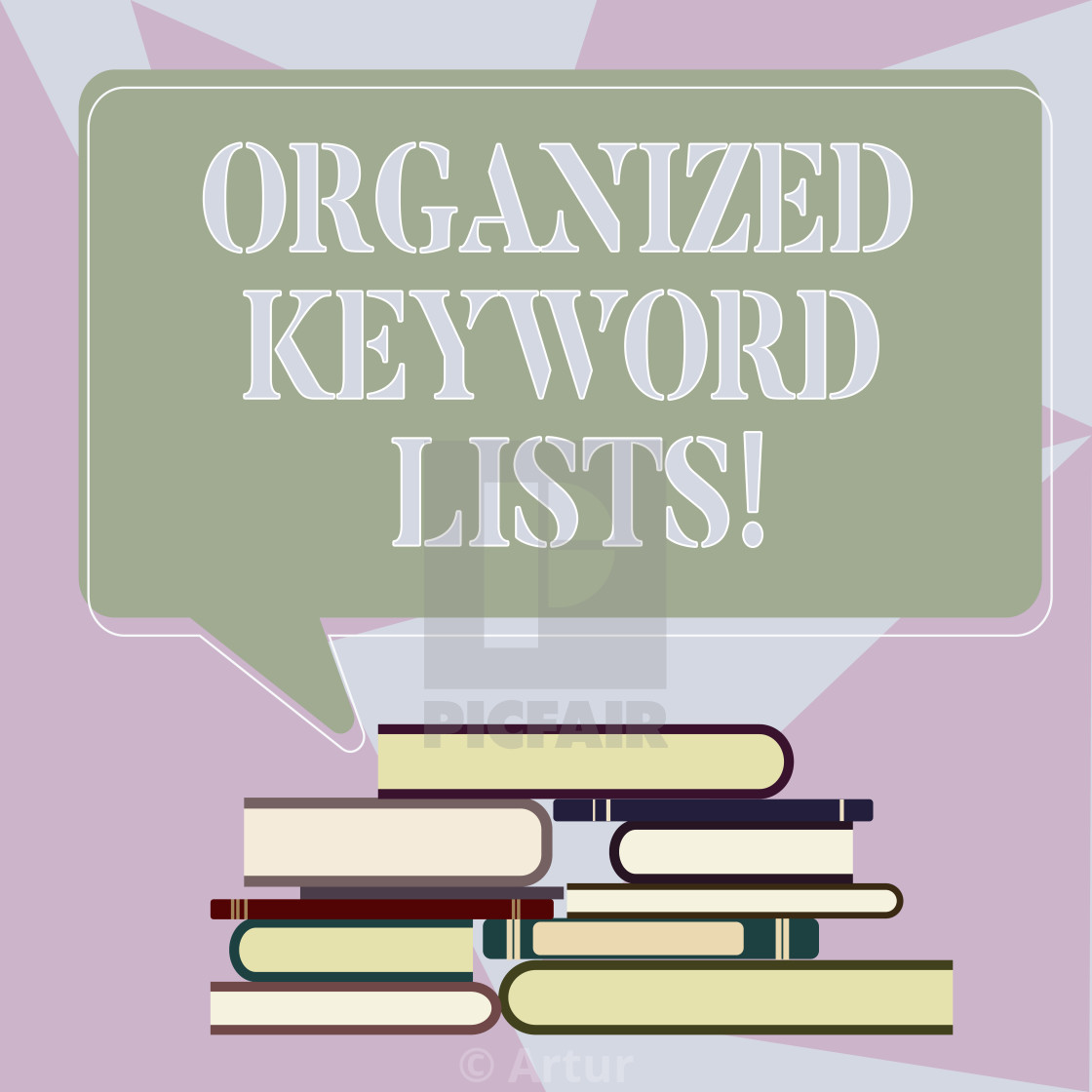 Writing note showing Organized Keyword Lists  Business photo