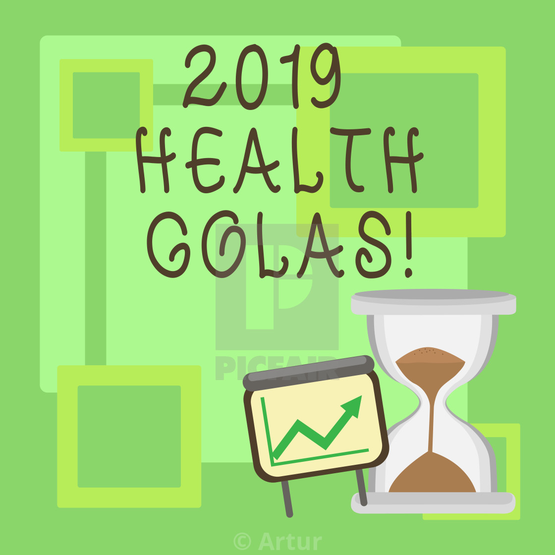 Handwriting text 2019 Health Golas  Concept meaning new year plan