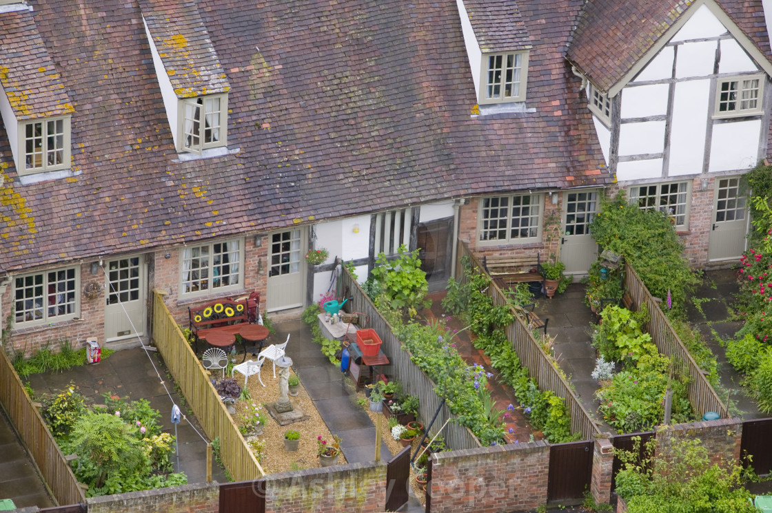 Old houses and back gardens in Tewkesbury UK - License