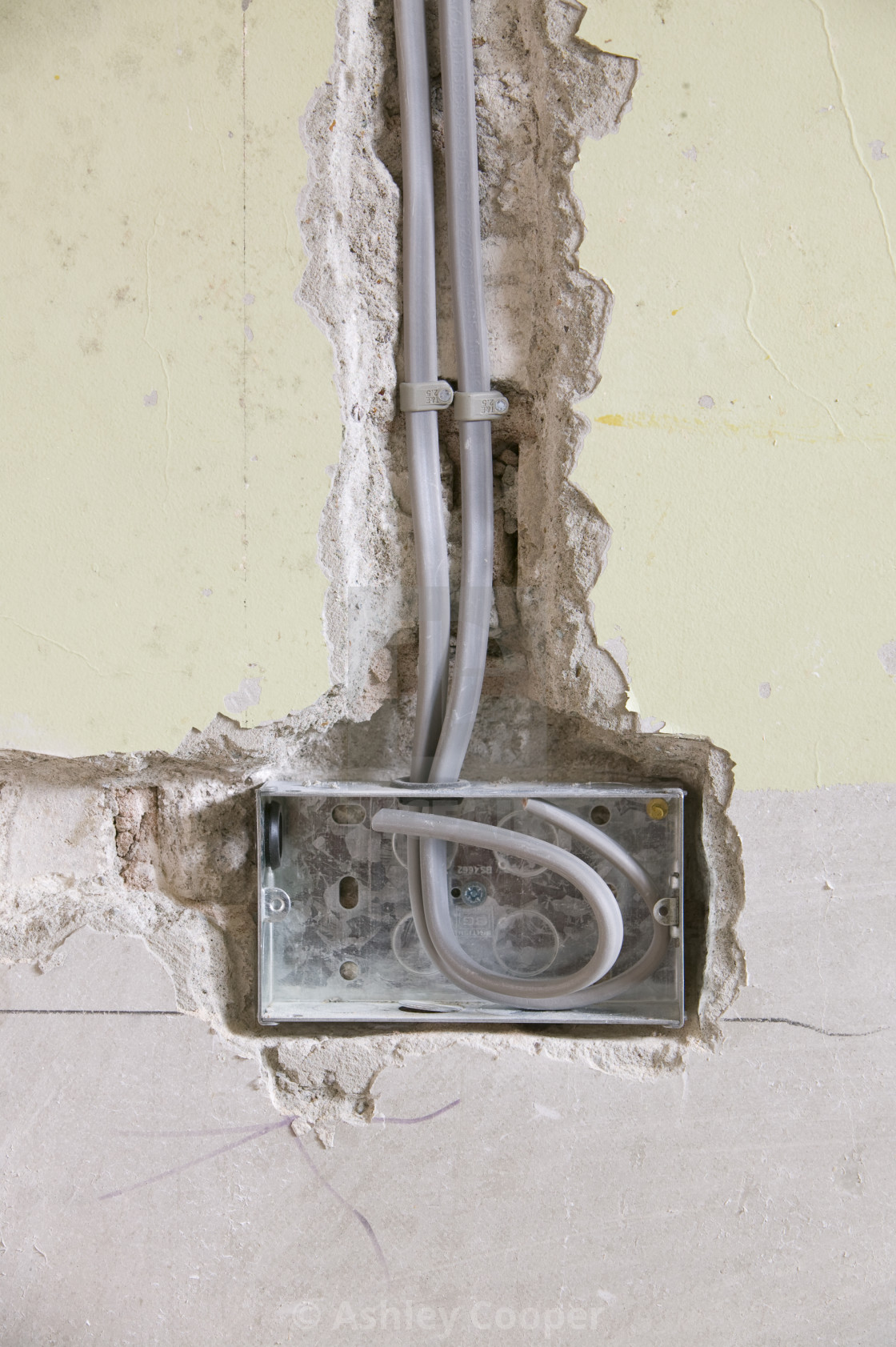 Wiring A Plug Socket Into House Wall Uk License For 3720 On Stock Image
