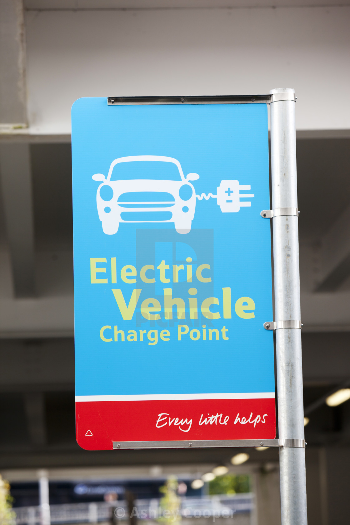 An electric car charging point provided free of charge in a