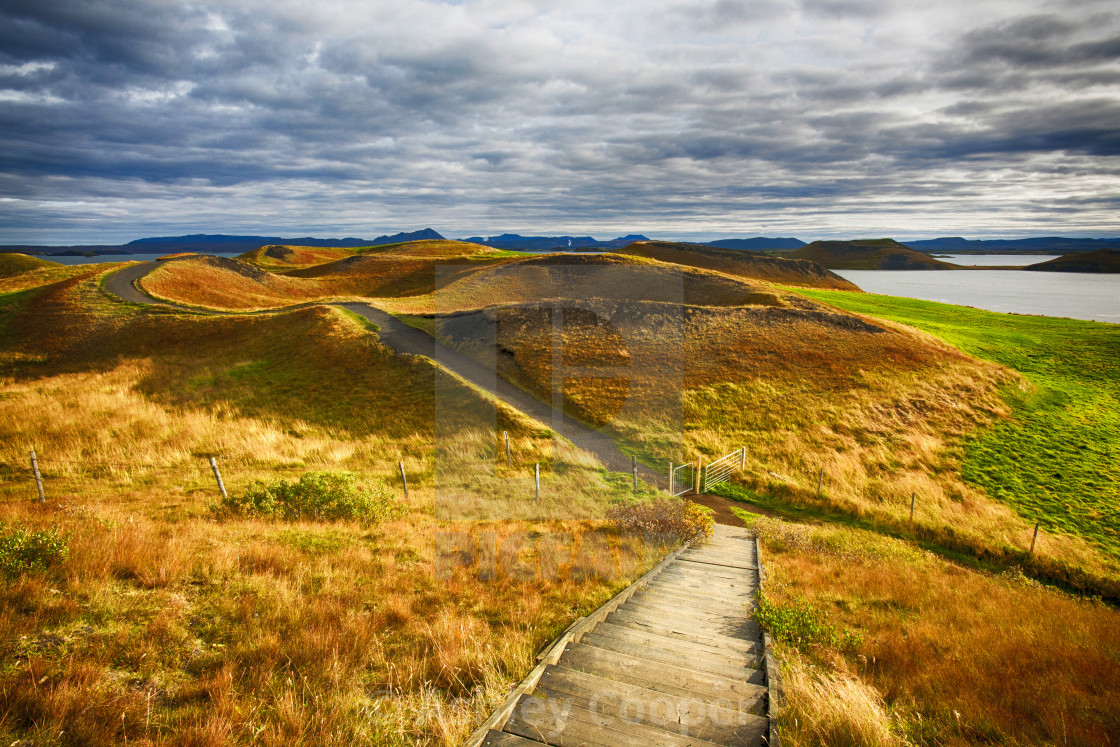 """Pseudo craters on the side of Lake Myvatn in Iceland. Pseudo craters are..."" stock image"