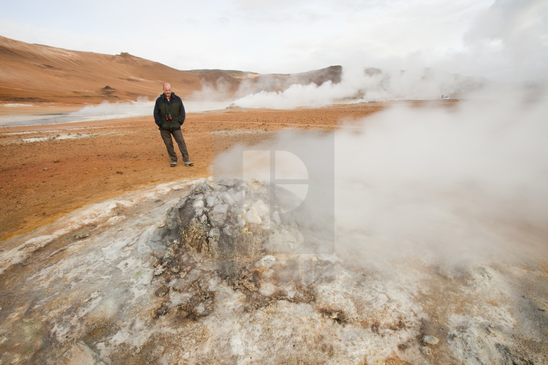 """""""Fumaroles emitting steam in the geothermal area of Hverir near Myvatn,..."""" stock image"""