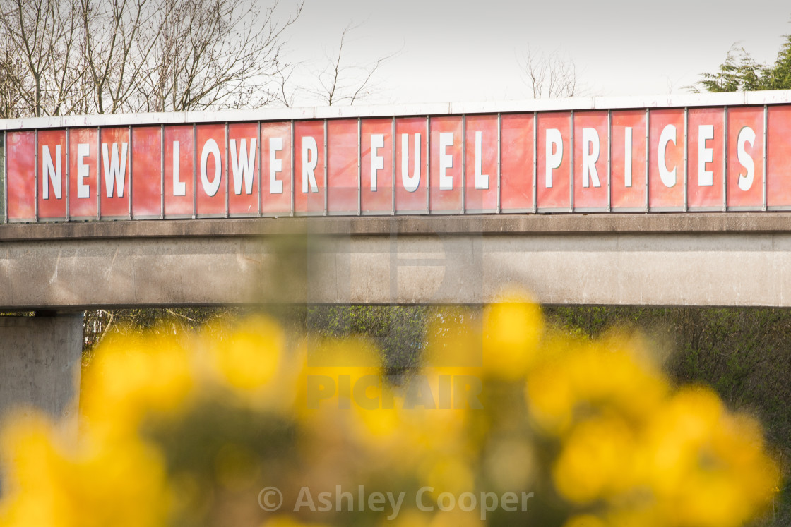 A Sign For Lower Fuel Prices At A Motorway Service Station On The M6 Motorway License Download Or Print For 37 20 Photos Picfair