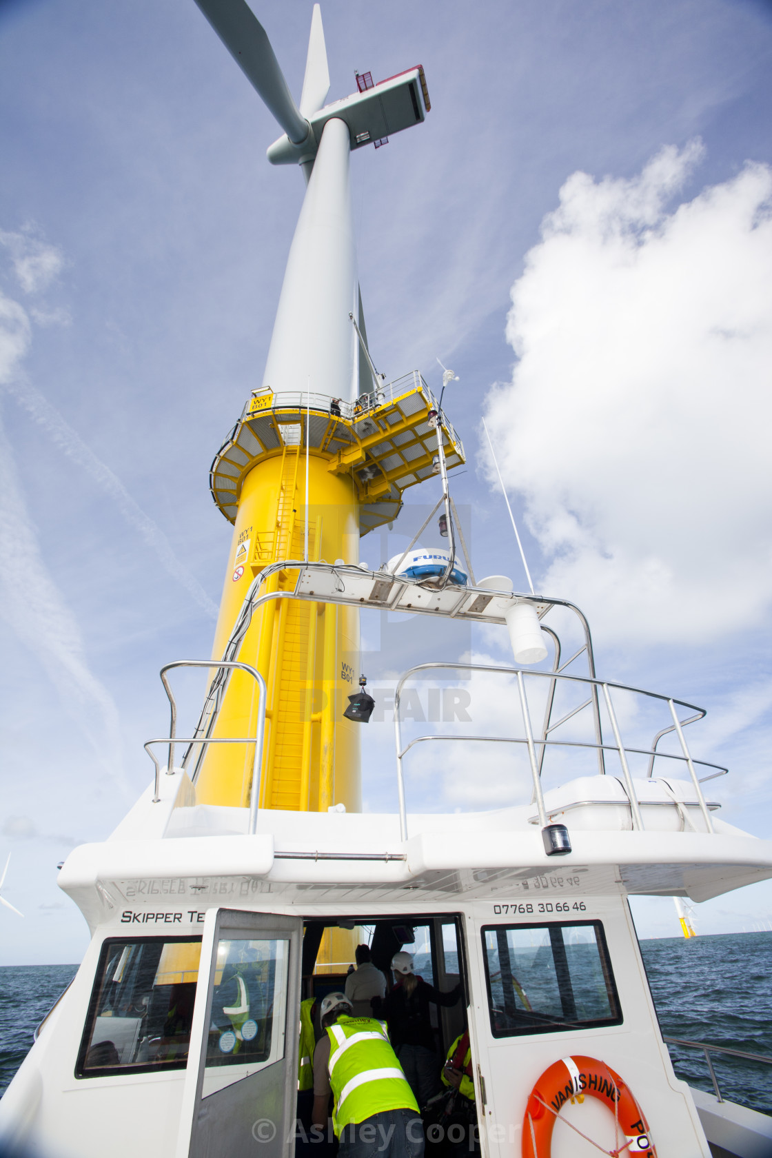 A crew transfer vessel at the Walney offshore wind farm