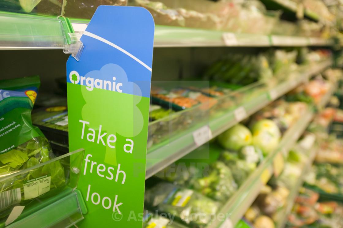 Organic food in a Tesco supermarket in Carlisle UK - License