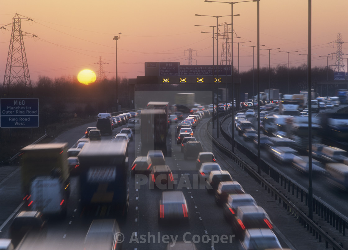 """Rush hour traffic on the M60 near Manchester, UK."" stock image"