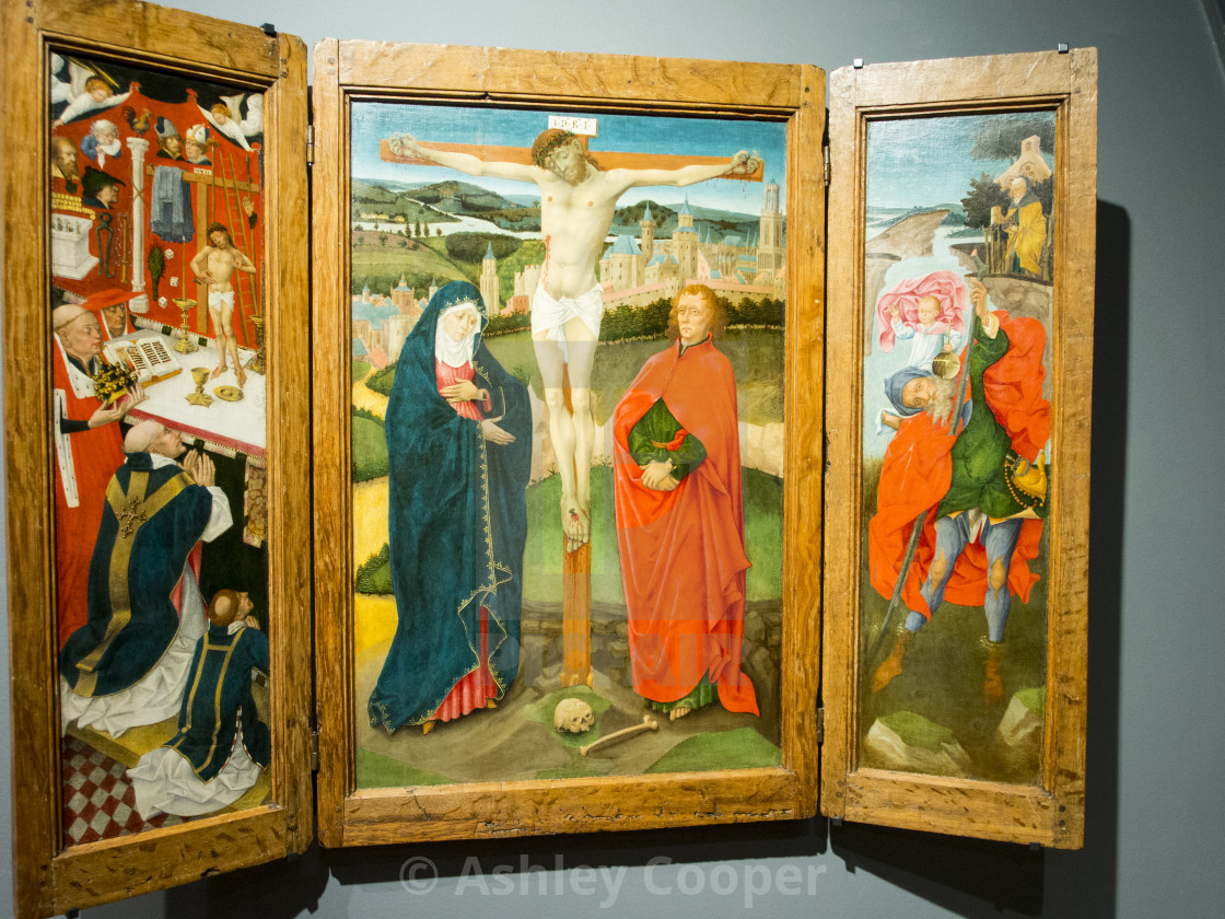 A triptych of the crucifixtion in the famous Reichstag museum in