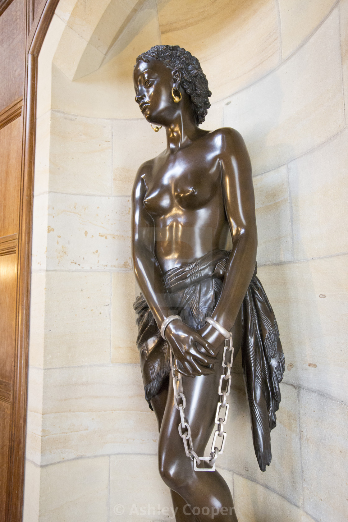 """""""A sculpture of a slave as an anti slavery statement at Cragside, Rothbury,..."""" stock image"""