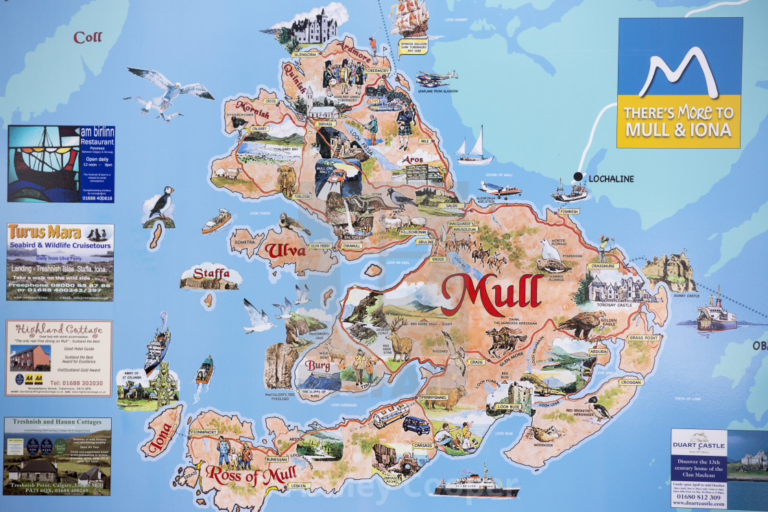 Isle Of Mull Map A map of the Isle of Mull, Scotland, UK.   License, download or