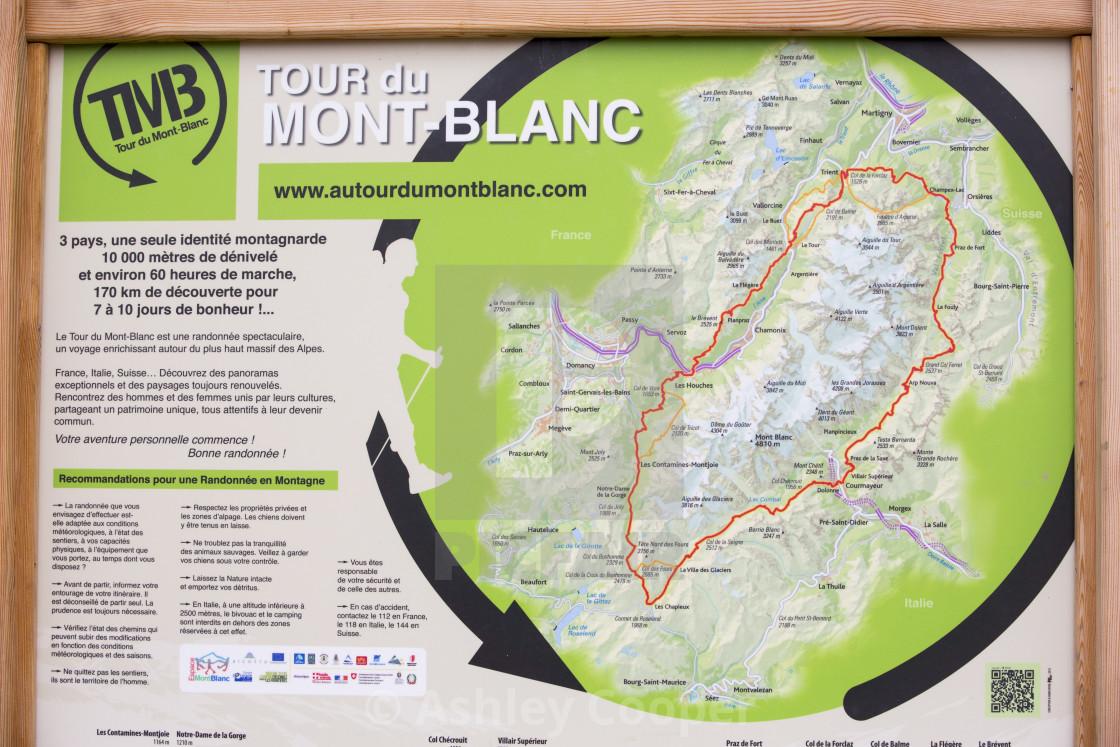 Mont Blanc France Map.A Map Of The Tour Du Mont Blanc Above Les Houches France License