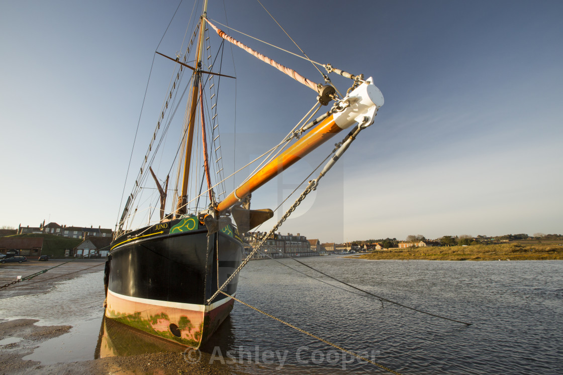 A Traditional Old Wooden Sailing Boat In A Tidal Creek At Blakeney