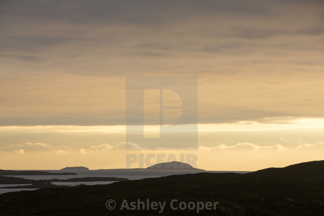 """Looking out towards Pabbay and Berneray from Leverburgh, Isle of Harris,..."" stock image"