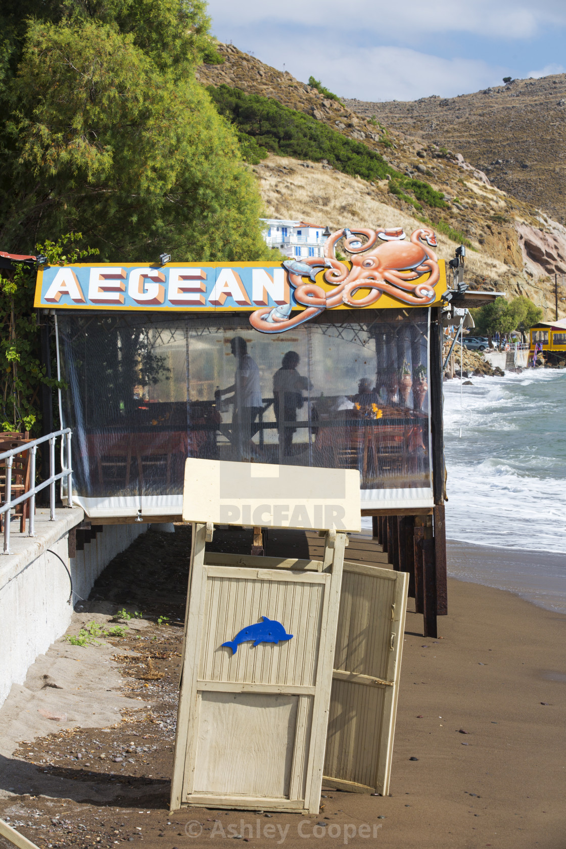 """A taverna on the sea front in Skala Eresou, on Lesvos, Greece."" stock image"