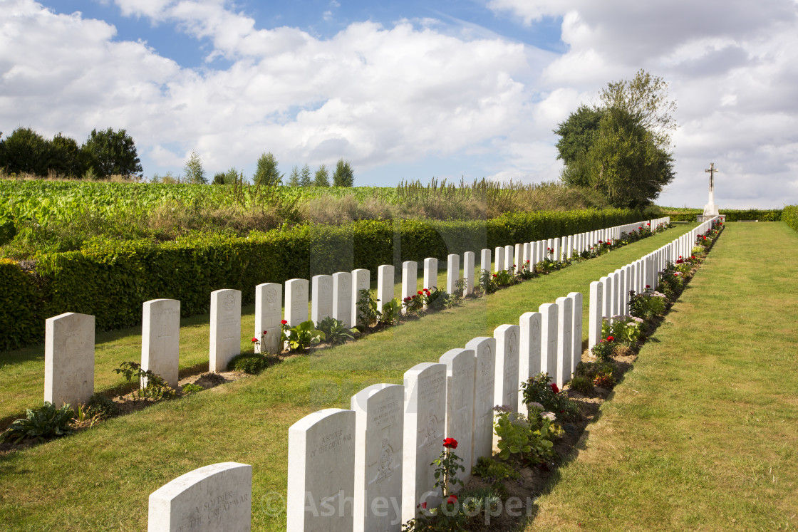 """First World War graves at Beaumont Hamel cemetary on the Somme, Northern France."" stock image"