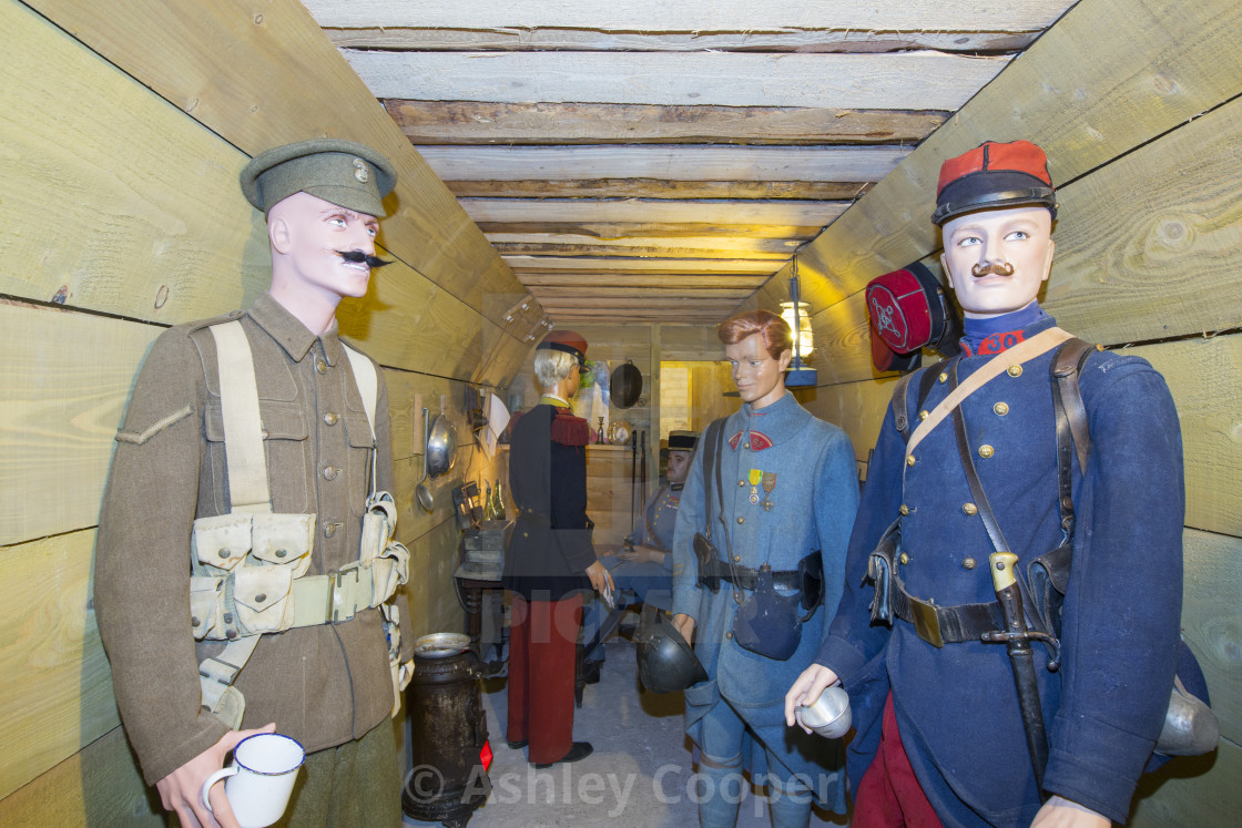 """Reconstruction of a British bunker at the underground Battle of the Somme..."" stock image"