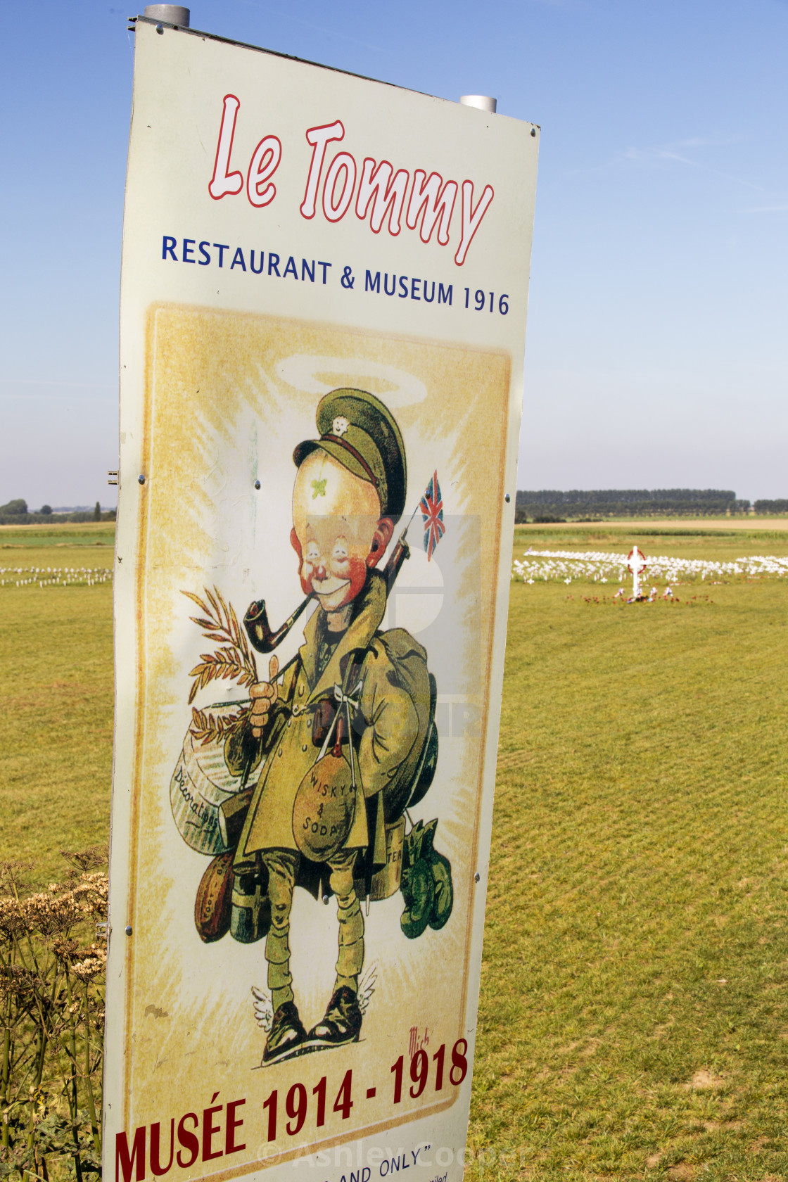 """A sign for the Tommy museum near Poziers, Somme, France."" stock image"