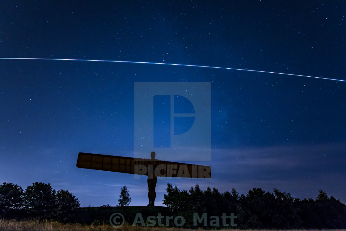 """International Space Station over the Angel"" stock image"