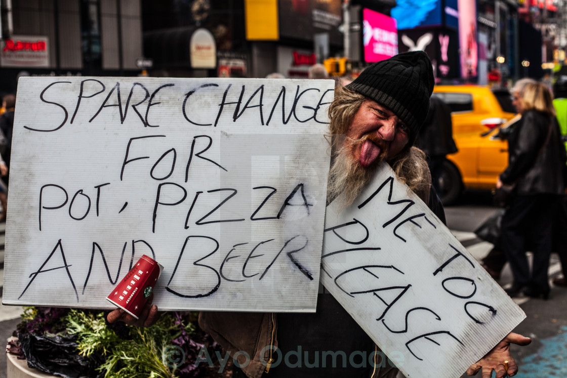"""Homeless Man in NY"" stock image"
