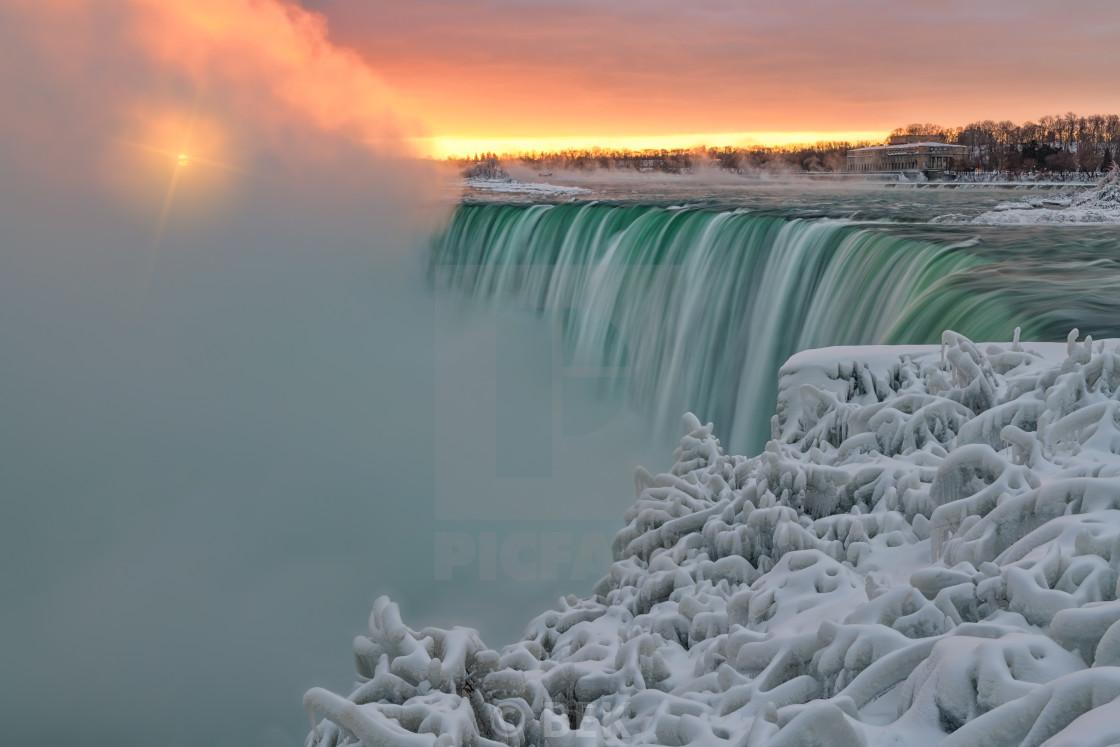 """Winter Sunrise - Niagara Falls"" stock image"