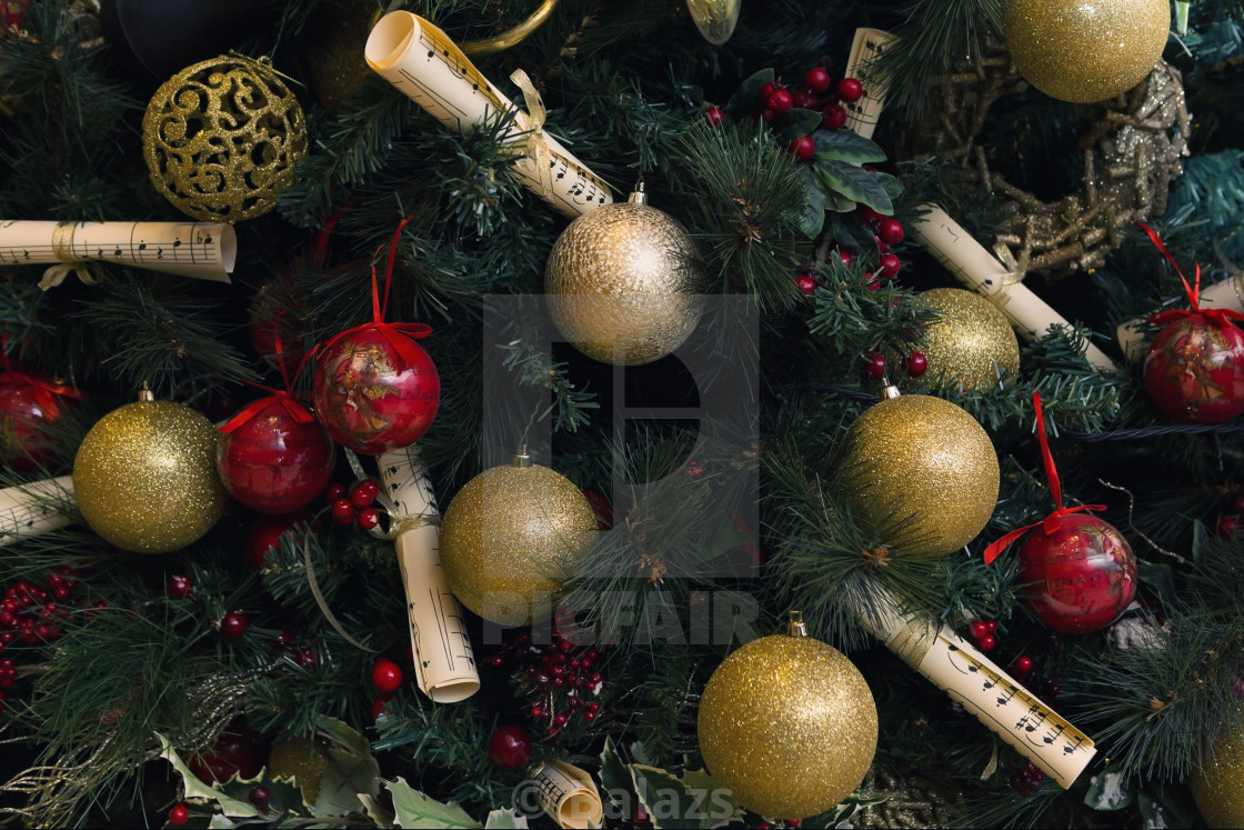 Music Themed Christmas Ornaments.Music Theme Decorated Christmas Tree License Download Or