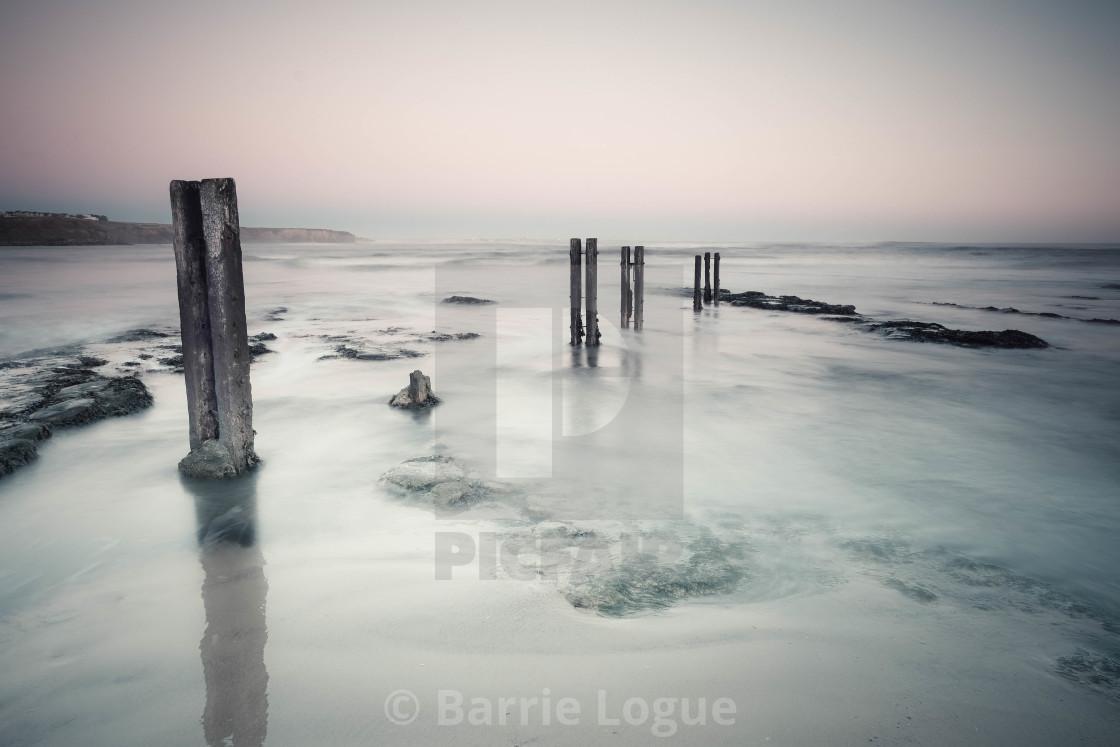 """""""Sea posts at Whitley Bay"""" stock image"""