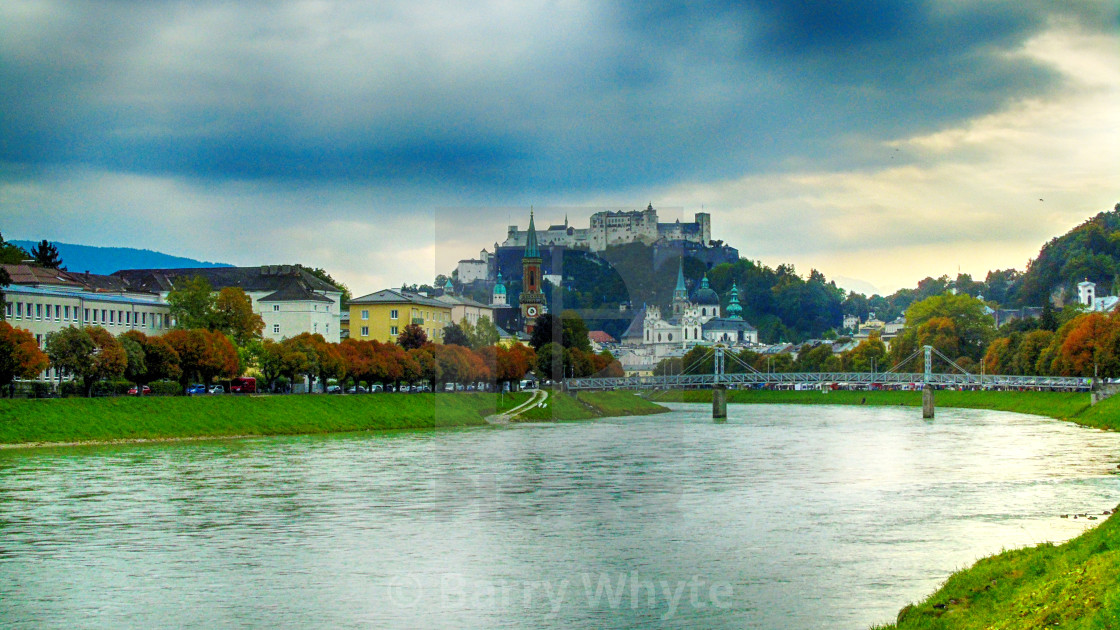 """River, Bridge & Castle"" stock image"