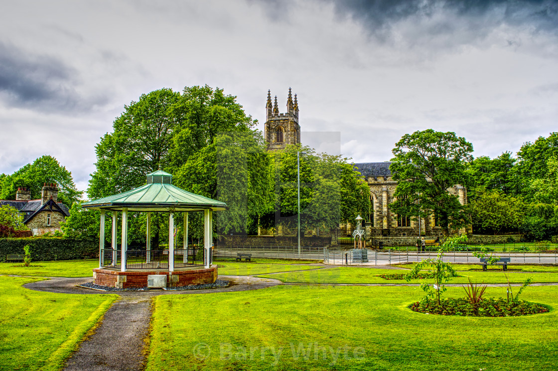 """Church and Bandstand"" stock image"