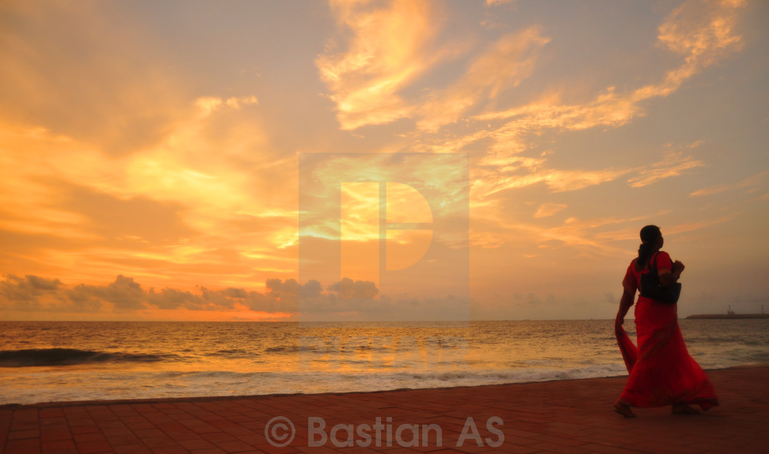 """Enjoying the Sunset at Colombo Beach"" stock image"