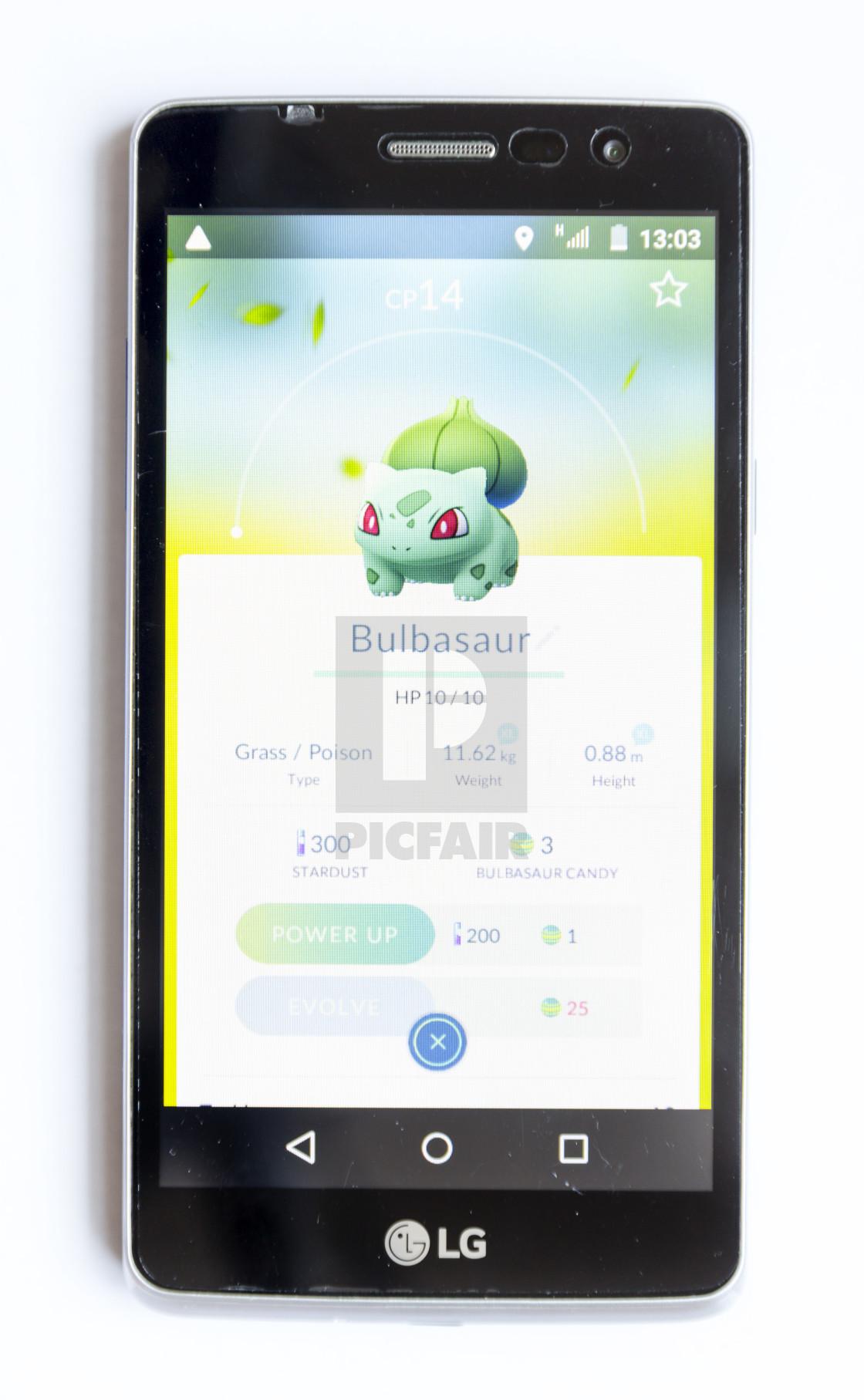 Pokemon Go game on white  Bulbasaur - License, download or