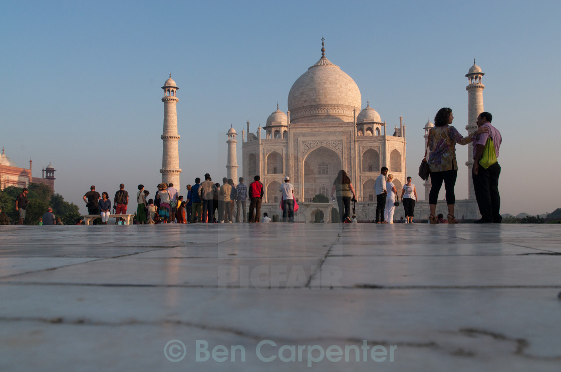 """In front of the Taj Mahal"" stock image"