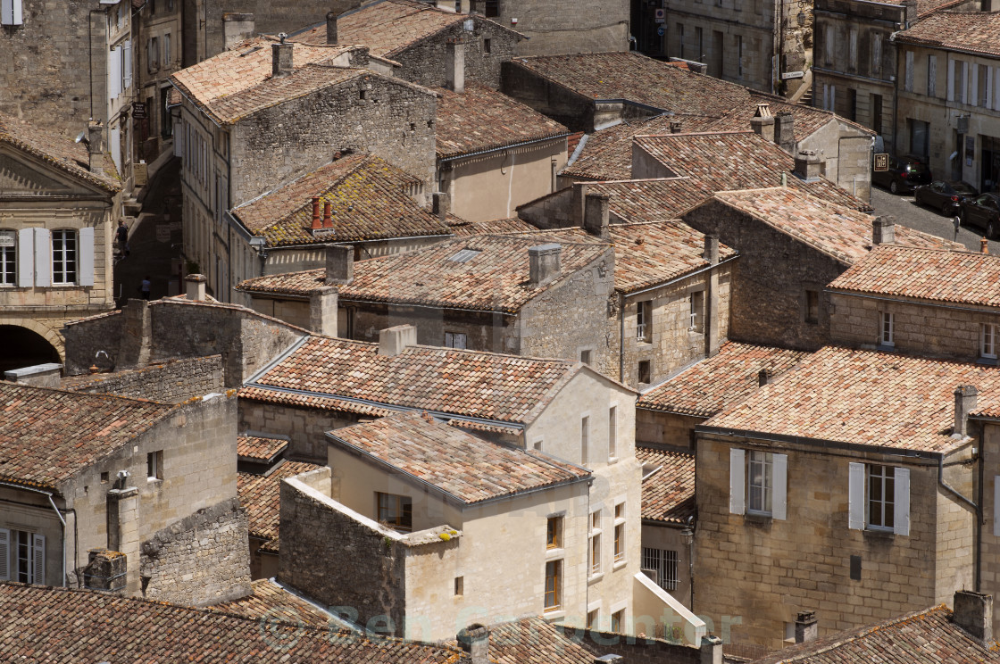 """St Emillion Roof Tops"" stock image"