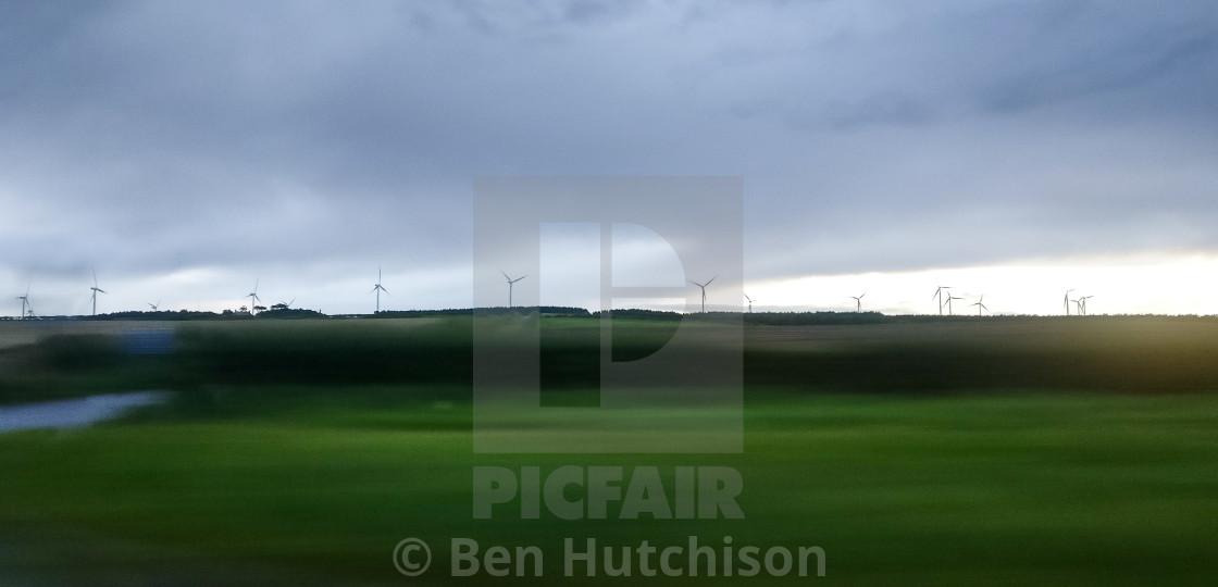 """Windmills on the horizon"" stock image"
