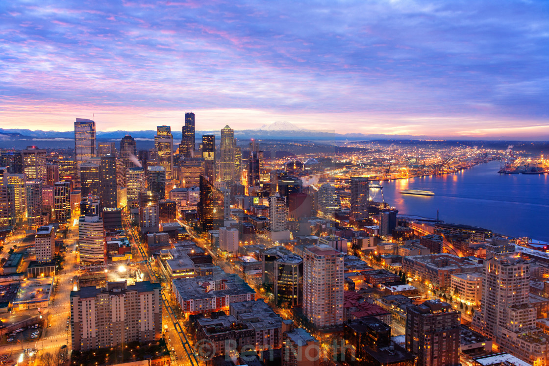 """Seattle Skyline at Sunrise"" stock image"