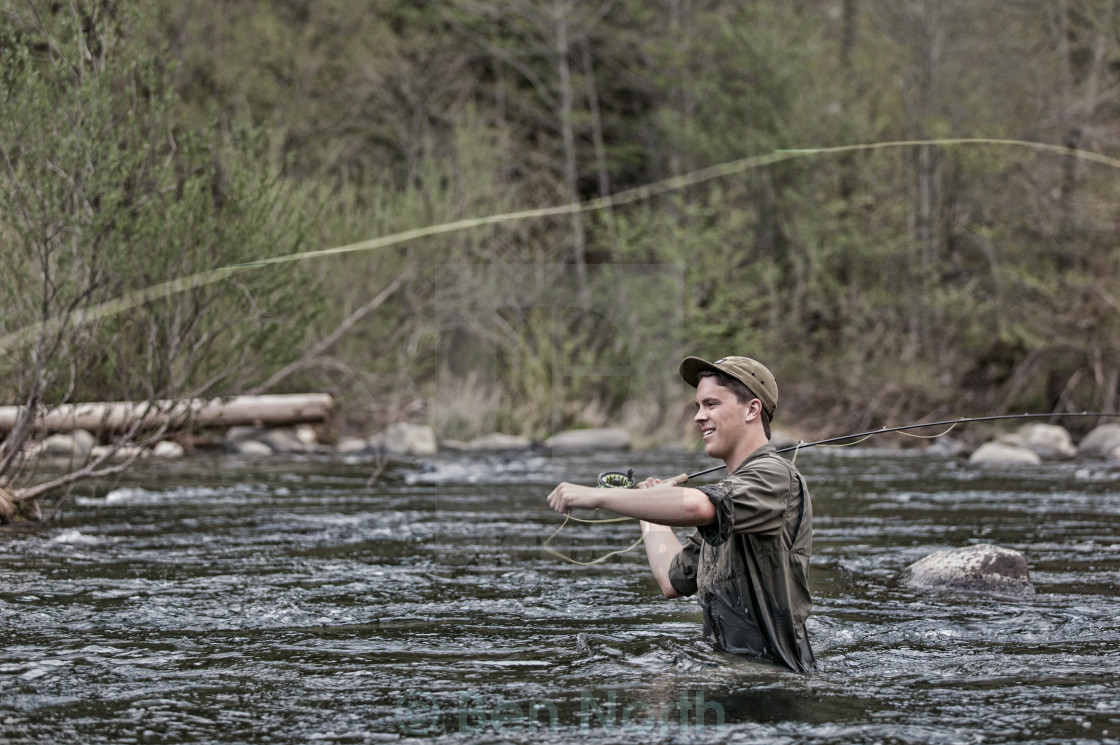"""River Fly Fishing"" stock image"