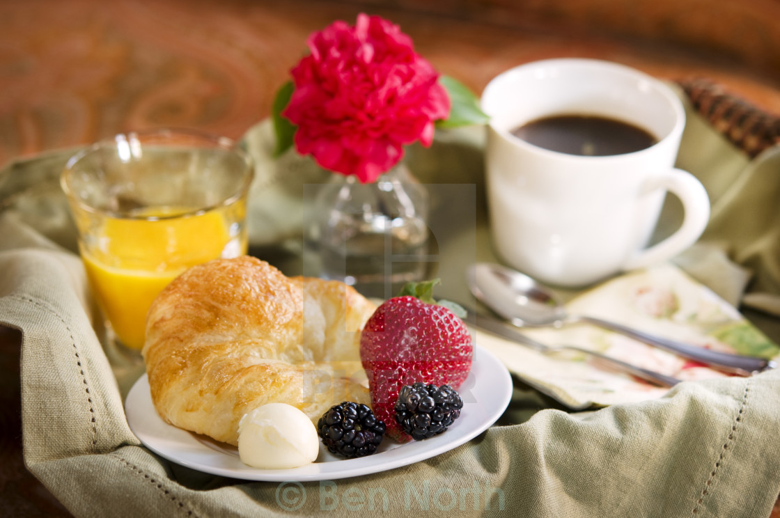 """Breakfast and Coffee on a Tray"" stock image"