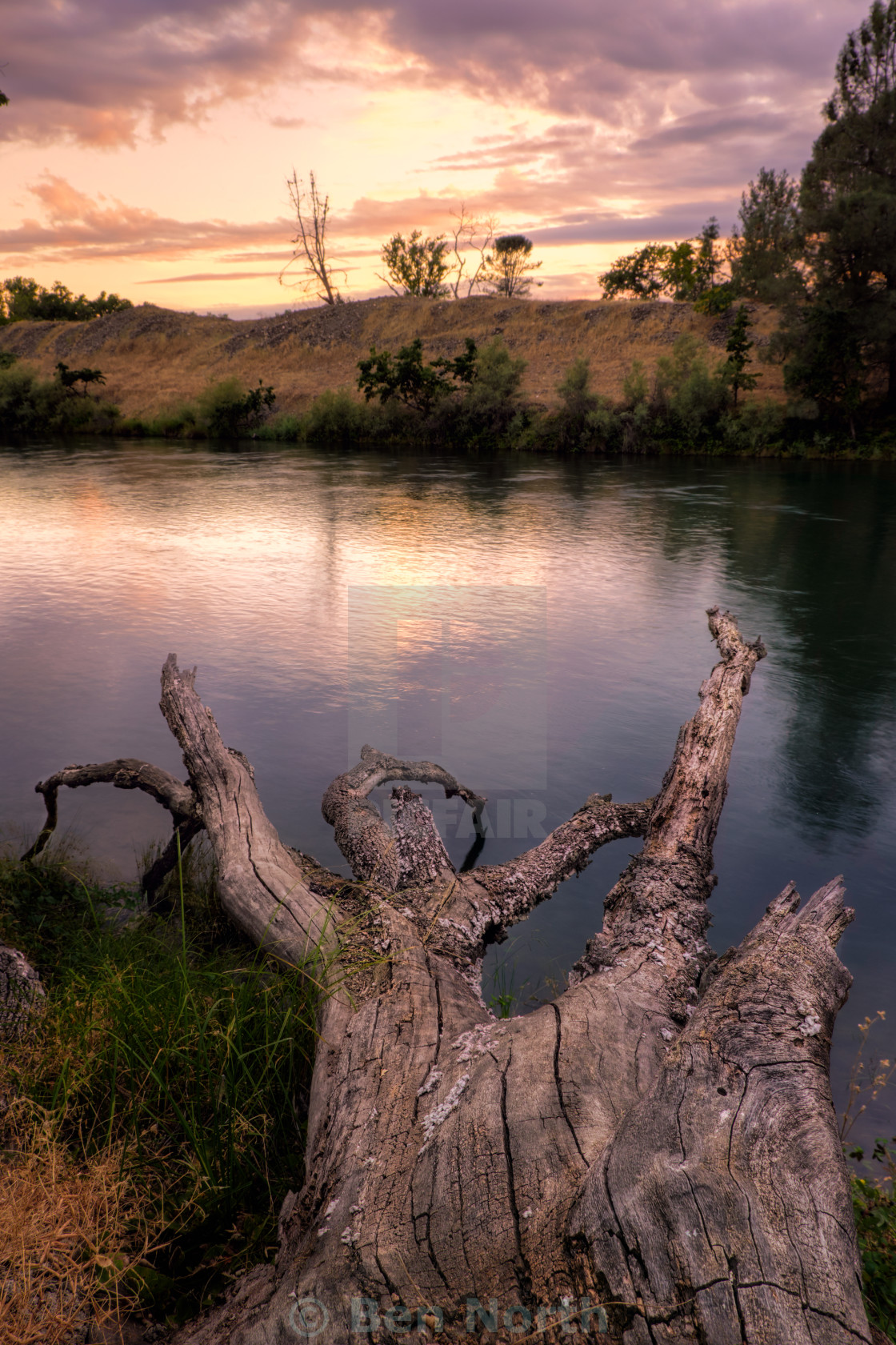 """Sunset on the Feather RIver"" stock image"